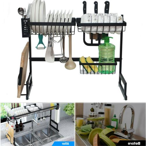 Over Sink Rack 2-Tier Stainless Steel Cutlery Drainer Kitchen