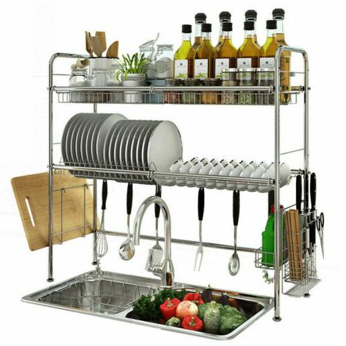 Sink Dish Drying Rack Cup Drainer Shelf Stainless Kitchen w/