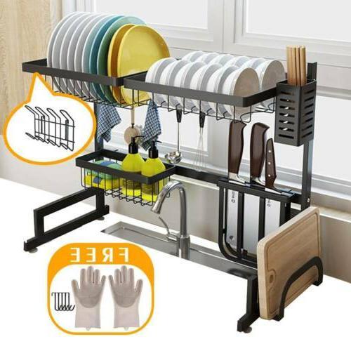 Over Sink Dish Drying Rack Drainer Shelf Stainless Steel Kit