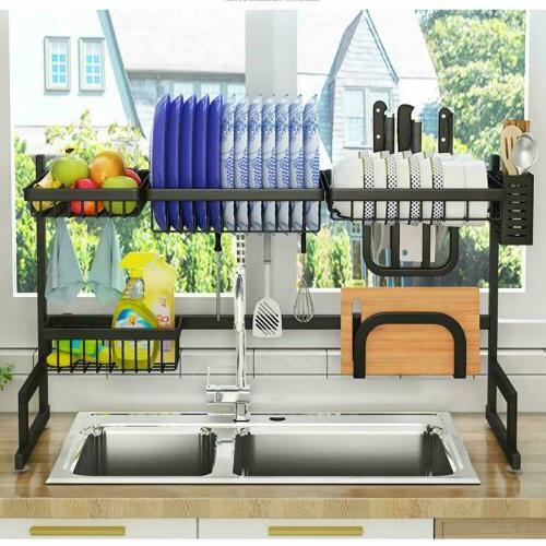 Over Sink Rack Drainer Shelf Steel Kitchen Cutlery Holder