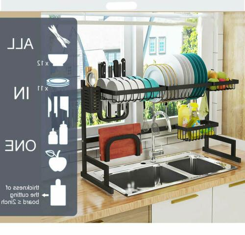 Over Sink Dish Rack Drainer Shelf Stainless Steel
