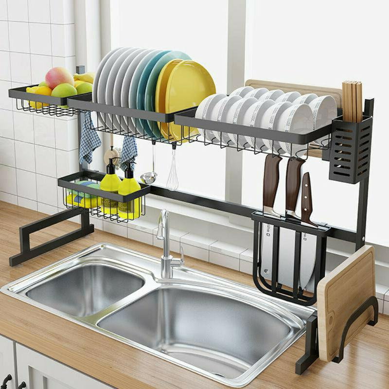 Large Capacity Kitchen Dish Drying Rack Drainer Dryer Culter