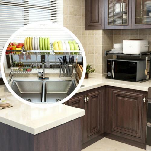 Over Dish Rack Drainer Stainless Kitchen Holder