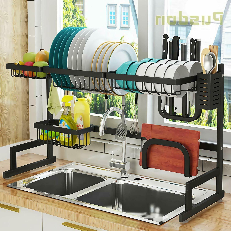 Over The Sink Dish Drying Rack Drainer Shelf Black Utensil H