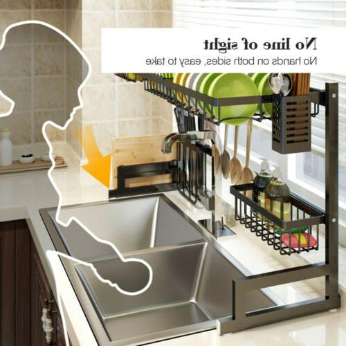 Over Sink Dish Drying Rack Stainless Steel Kitchen 85cm