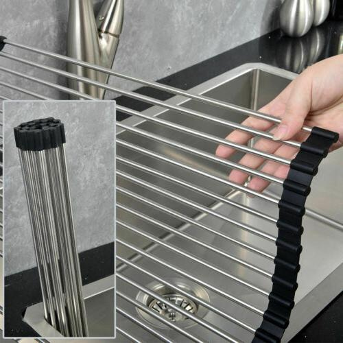 Extra Over the Sink Roll-Up Drying Rack Pan Food Drainer