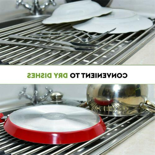 Over Dish Drying Rack Stainless Steel Mat Silicone Coated Rims