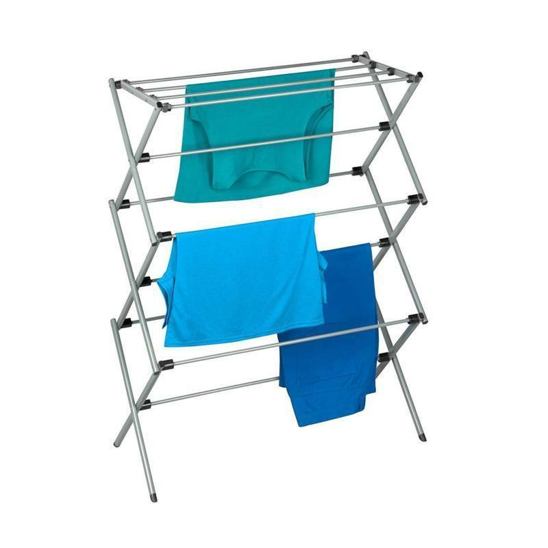 Oversize Folding Drying Laundry Room Clothes 3 Tier Metal