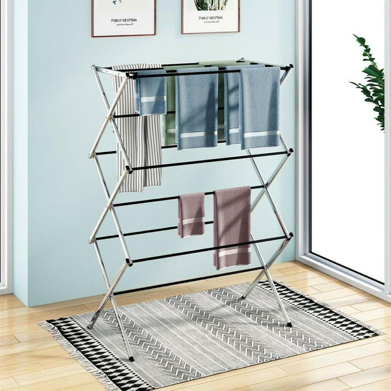 Oversize Folding Drying Rack With 3 Tier Metal For Laundry R