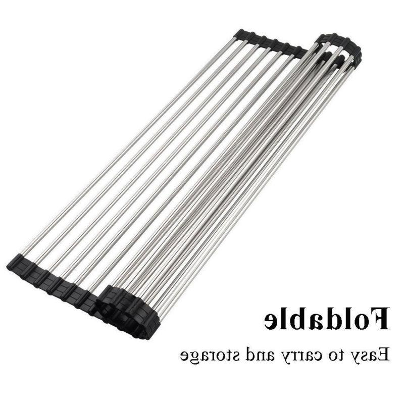 Roll-up Dish Drying Flexible Steel The Sink Kitchen Drainer