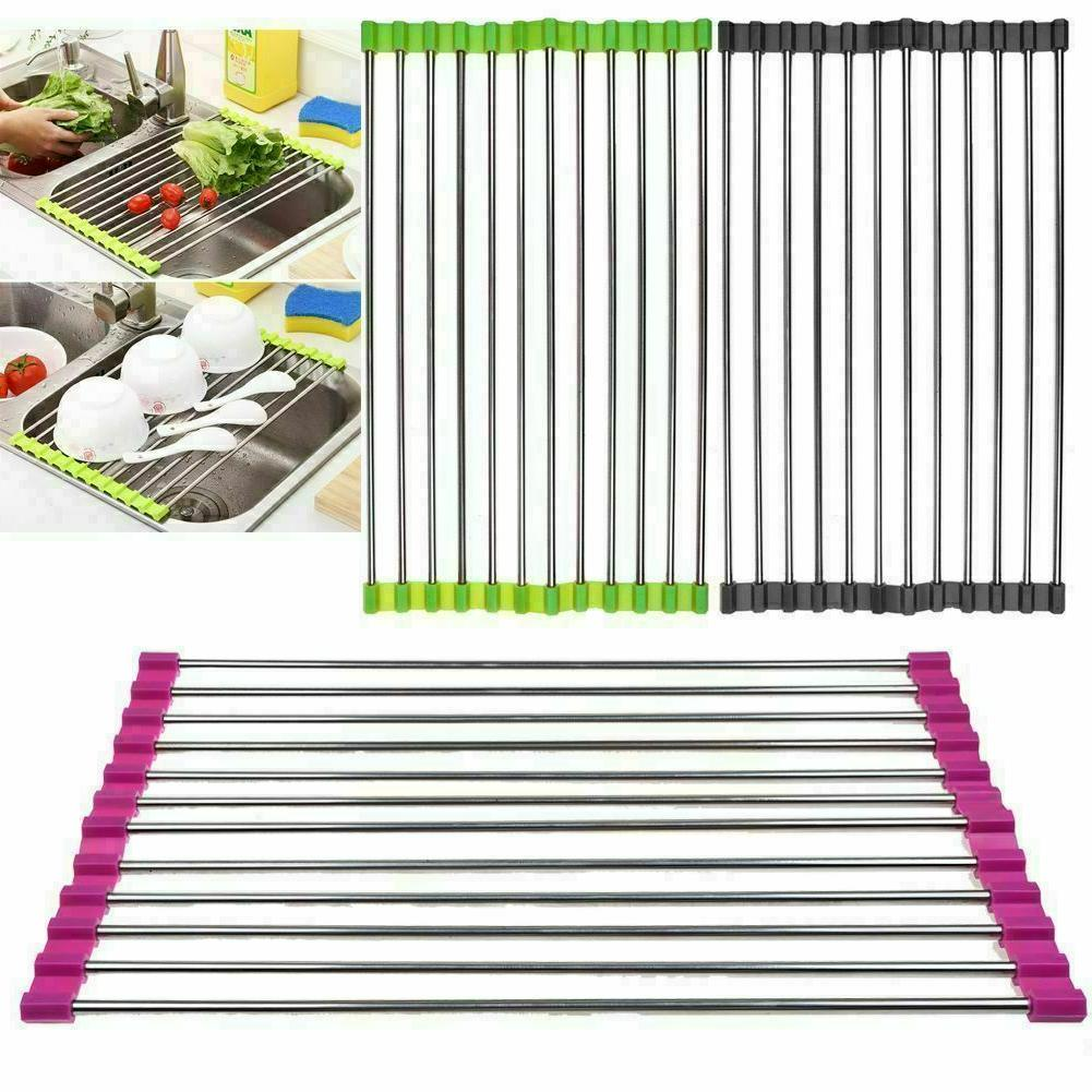Roll Up Dish Drying Rack Over the Sink Stainless Steel Colan