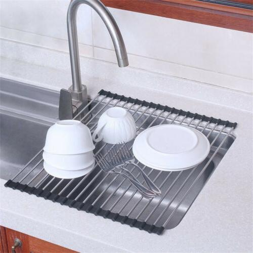Roll Up the Sink Drying Rack Mat Tray