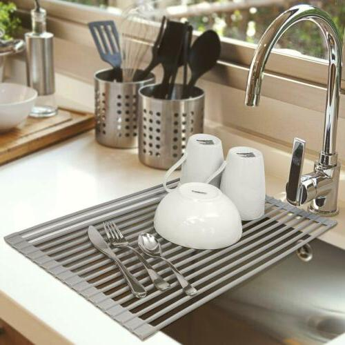 Roll-Up Stainless Steel Dish Drying Rack Kitchen Over Sink R