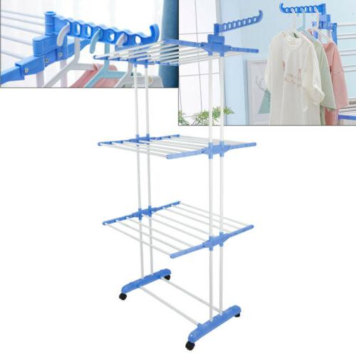 3 Tier Clothes Drying Rack 2 Side Wings Folding