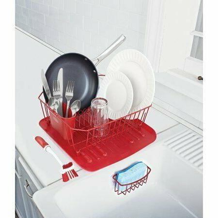 rubbermaid antimicrobial sink dish rack drainer set