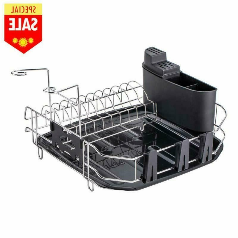 Sink Countertop Kitchen Dish Drying Rack In Drainer With Dra