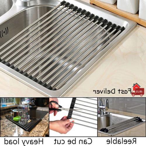 sink dish drying rack kitchen multipurpose drainer