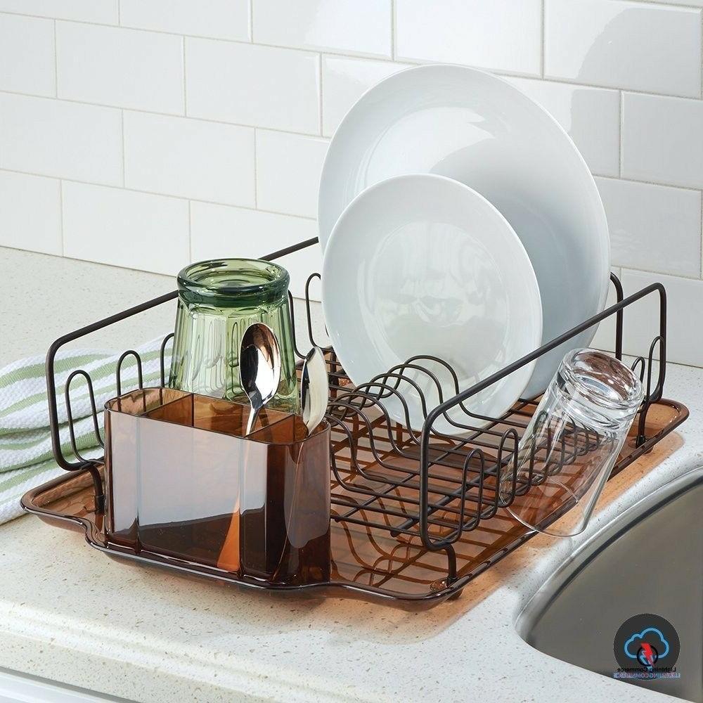 Small Dish Drainer Set Drying Compact Countertop Metal