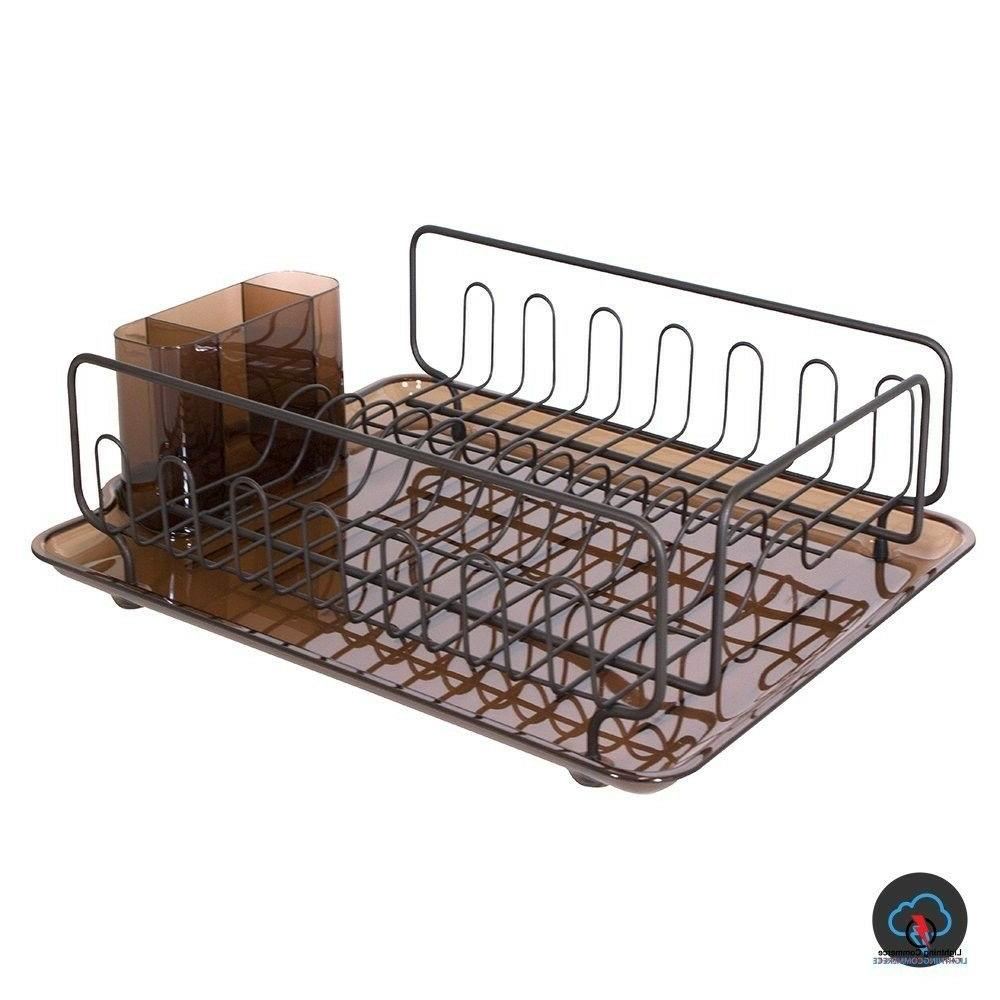 Small Dish Drainer Set Drying Compact Countertop Metal Bronze