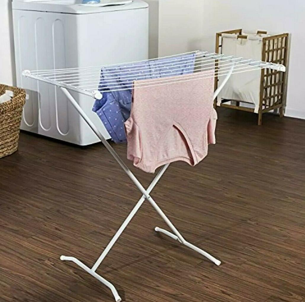 Space Saving Folding Laundry Clothes Drying Rack White