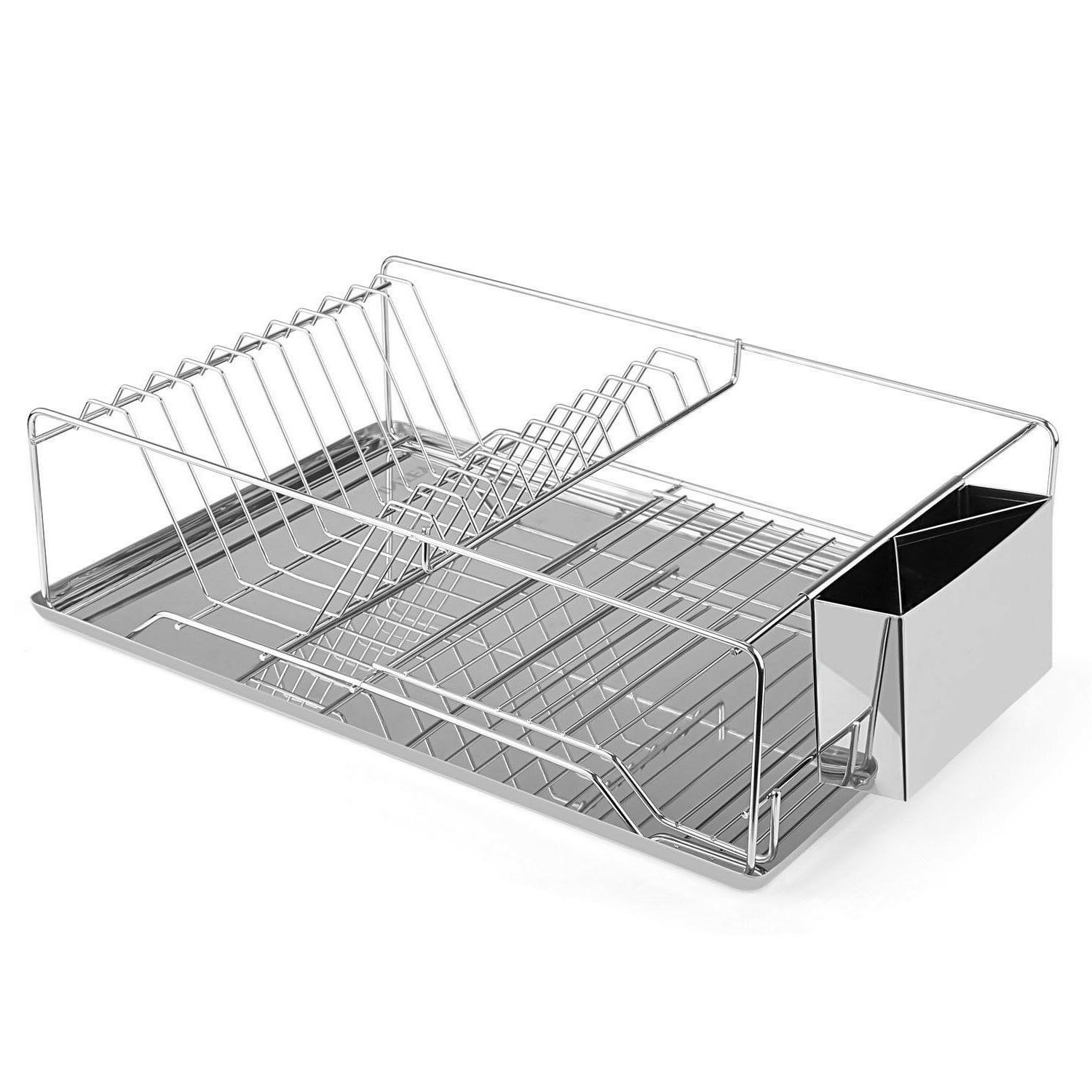 Kitchen Stainless Steel Dish Rack with Side Cup Drain Board