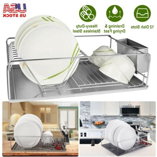 stainless steel 1tier dish drying rack drainer