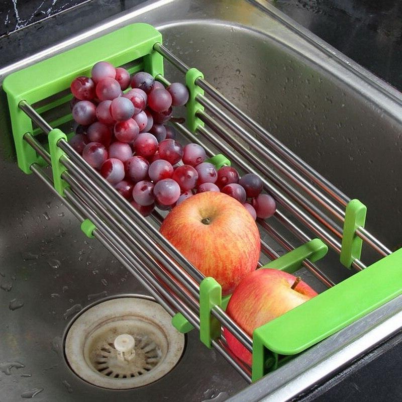 <font><b>Kitchen</b></font> <font><b>Over</b></font> <font><b>Drying</b></font> <font><b>Rack</b></font> Storage Organizer Vegetable Tray Drainer