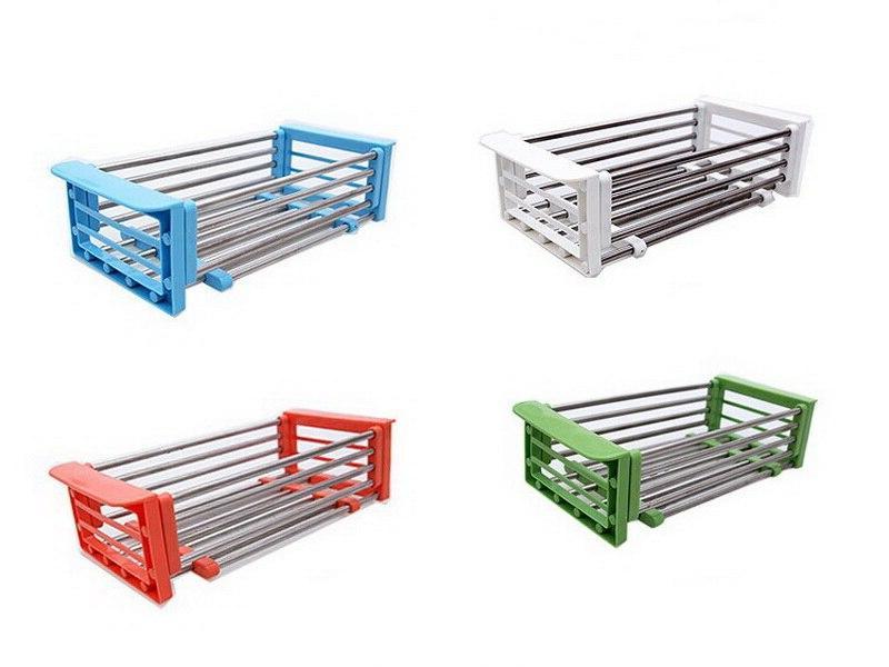Stainless Steel <font><b>Kitchen</b></font> <font><b>Sink</b></font> Dish <font><b>Drying</b></font> <font><b>Rack</b></font> Insert Organizer Fruit Drainer