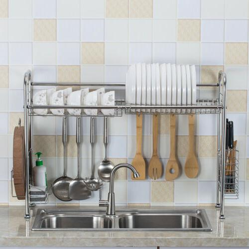 Over Sink Dish Drying Rack Drainer Stainless Steel Kitchen C