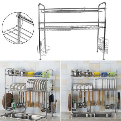 Stainless Steel Dish Rack Sink Bowl Shelf Organizer Cutlery