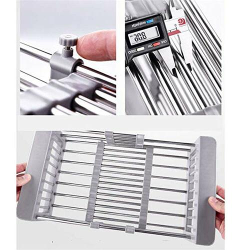 Stainless Steel Drying Rack Expandable Sink Organizer