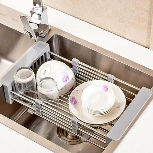Stainless Drying Rack Telescopic Basket Kitchen Sink