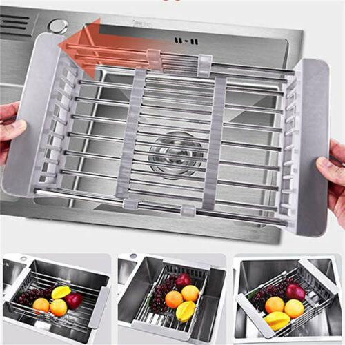 Stainless Steel Dish Drying Rack Expandable Filter Basket Si