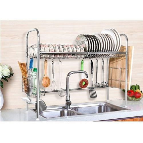 Stainless Steel Dish Rack Over Sink Bowl Shelf