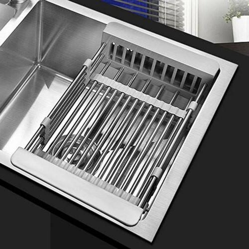 stainless steel kitchen dish drying rack telescopic