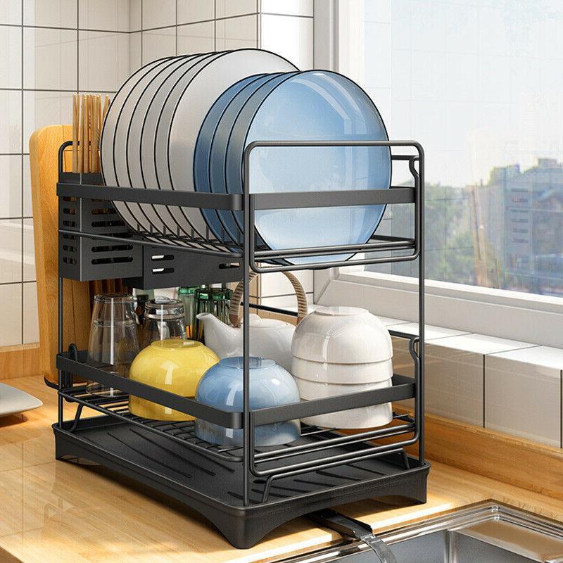 Stainless Steel Kitchen Shelf Dish Storage Rack Tableware