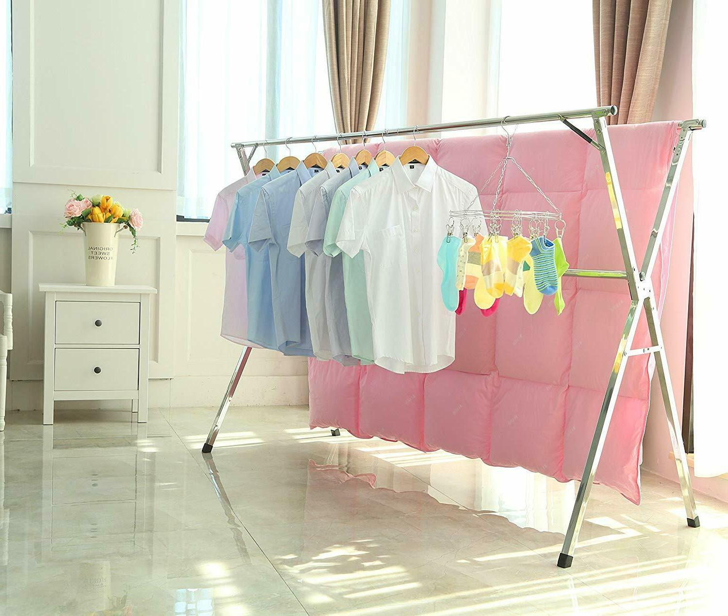 stainless steel laundry drying rack collapsible folding