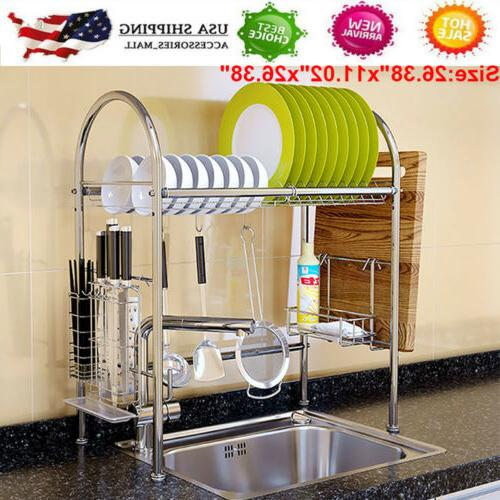 Stainless Steel Dish Bowl Shelf Kitchen Cutlery US