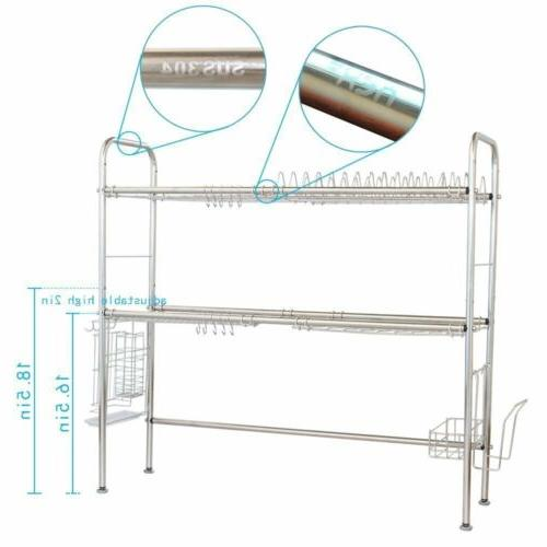 Stainless Dish Drying Rack Shelf Kitchen Cutlery Holder