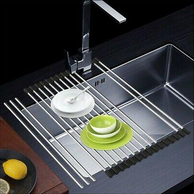 stainless steel over sink rack dish drying