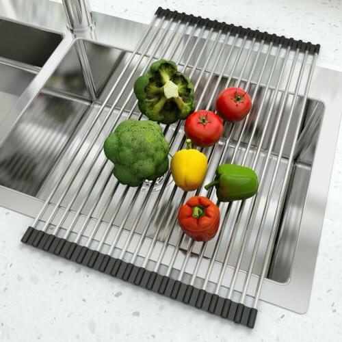 Extra Large Over the Sink Roll-Up Dish Rack Pan Drainer