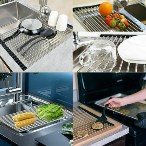 Extra Over Sink Dish Drying Rack Pan Food Drainer Mat