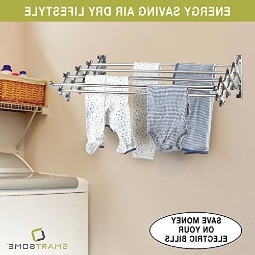 """Stainless Laundry Fold Away Dry Racks, Design Ft, Extended Size: 24"""""""