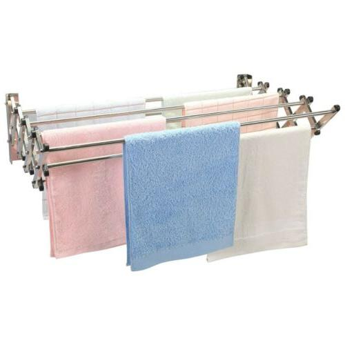 Steel Wall-Mounted Drying Rack Folding Clothes Towel Laundry