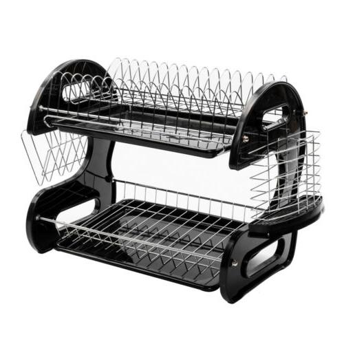 US 2-Tier Drying Rack Drainer Kitchen Saver