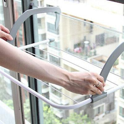 Folding Adjustable Drying Rack Clothes Outdoor Pole Airer Ba