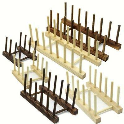 storage rack wooden kitchen drain plate organizer