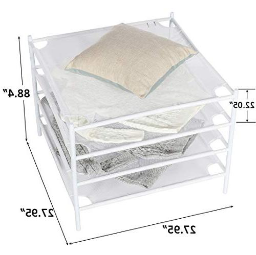 STORAGE MANIAC Drying Stackable Mesh Clothes Dry Net Rack - Pack, White