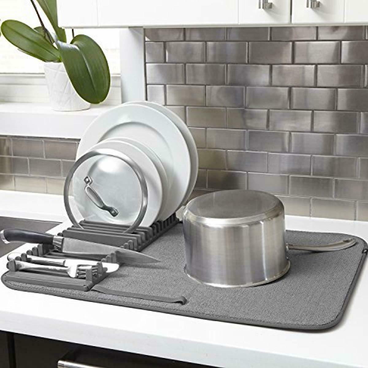Umbra Rack and Microfiber Dish Mat-Space-Saving Lightweight Design