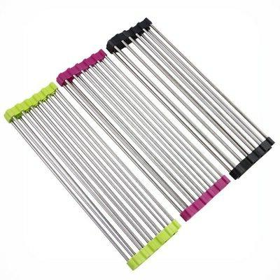 Kitchen Drainer Roll-up Dish Drying Foldable Steel Over Rack